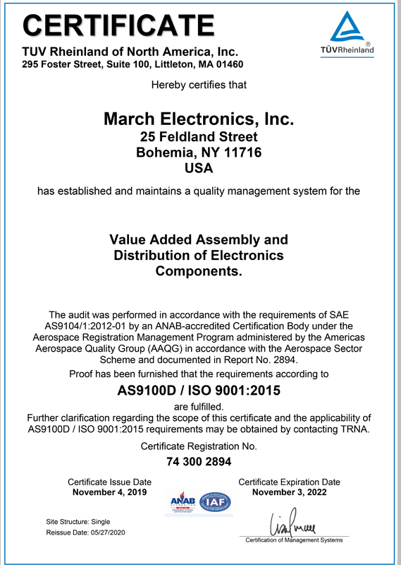 CERTIFICATION VERIFIED | MARCH ELECTRONICS